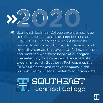 Southeast Technical College unveils a new logo to reflect the institutions change in name on July 1, 2020. The college will continue in its mission to educate individuals for dynamic and rewarding careers that promote lifetime success and meet the workforce needs of our region. The Veterinary Technician and Dental Assisting programs launch. Southeast Tech expands the Ed Wood Center and renovates space in the Sullivan Health Science Center to accommodate.