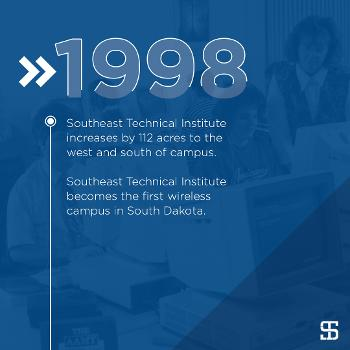 Southeast Technical Institute increases by 112 acres to the west and south of campus.  Southeast Technical Institute becomes the first wireless campus in South Dakota.