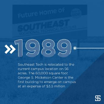 Southeast Tech is relocated to the current campus location on 56 acres. The 60,000 square foot George S. Mickelson Center is the first building to emerge on campus at an expense of $3.5 million.